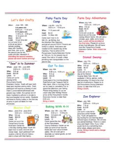 4-H Summer Ventures newsletter page 2