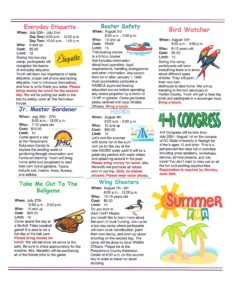 4-H Summer Ventures newsletter page 3