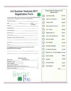 4-H Summer Ventures registration form