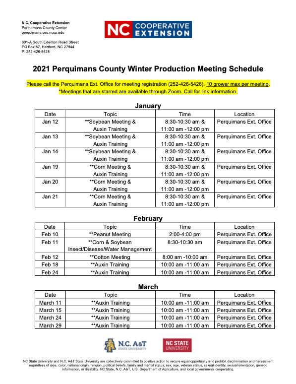 Production Meeting Schedule flyer